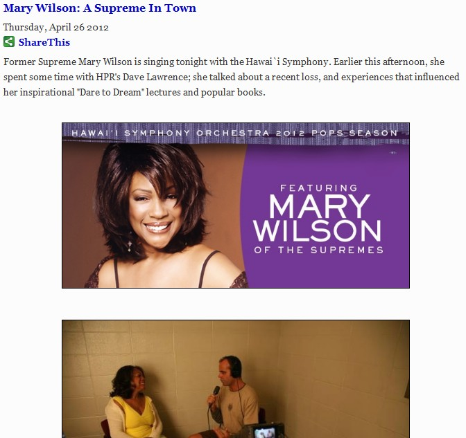Recorded a new interview with The Supremes' Mary Wilson